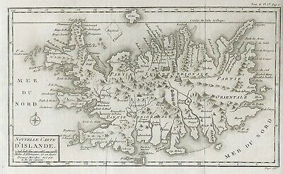 Original antique map of Iceland Islandia Islande from 1801 by Charles Picquet