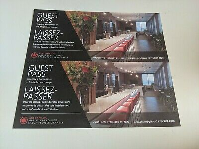 Air Canada Maple Leaf Lounge One-Time Pass Exp 29 Feb 2020