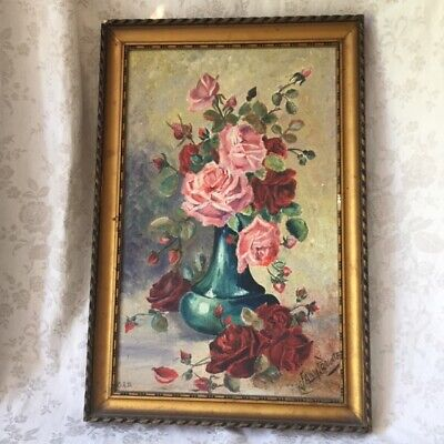 Fabulous Large ANTIQUE Vtg FRENCH Pink ROSES OIL PAINTING Gilt Gesso Frame 1933