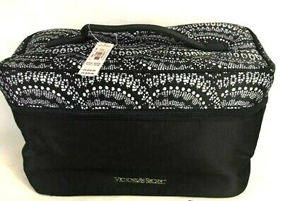 Victorias Secret Bra Panty Lingerie Travel Train Case Bag Black White NWT