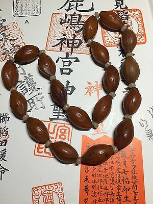 antique hediao Chinese nut not carved 18 prayer mala beads necklace