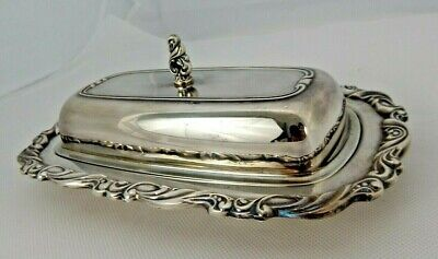 Vintage ONEIDA SILVERSMITH Silver Plate Butter Dish Covered Glass Liner Georgian