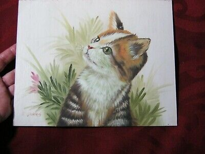 Kitch Painting Original, Kitty, Cat, Paint Wood, Signed, Outsider Art