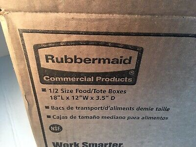 "Lot Of 6 Rubbermaid FG350700 White Food Tote Box 18"" L X 12 ""W X 3.5"" D"