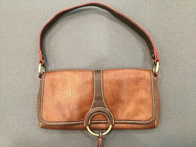 Tommy Hilifiger Vintage Clutch Purse Tan,Dark brown And Red Accent Leather