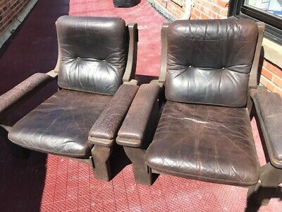 Pair 2 Leather Chairs Paris Flea Market Vintage Antique Walnut Unique! Must See