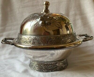 Antique Mead & Robbins Victorian Quadruple Plated Silver Butter Dish