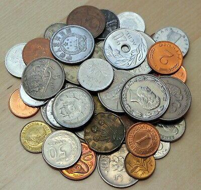 Lot of 50 Different Coins - 50 Different Countries - 6 Continents