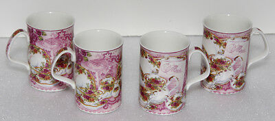 4 Royal Albert Old Country Roses Philippa Mitchell Designed Afternoon Tea Mugs
