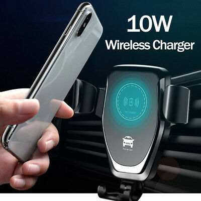 10W QI Wireless Fast Charger Car Mount Holder Stand iPhone X XS Samsung S9 AU