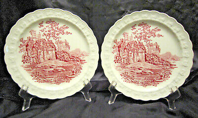 """Red Transfer Ware 8"""" Luncheon Plates by Taylor Smith USA"""