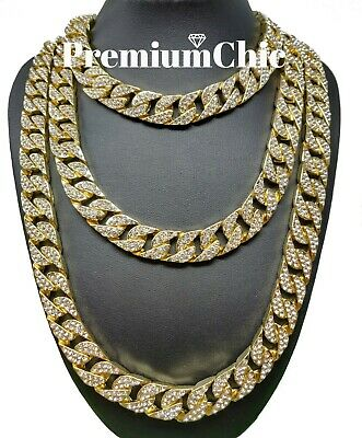 """ICED Miami Cuban Choker Chain Necklace Hip Hop Mens Gold Silver 14mm 16"""" - 30"""""""