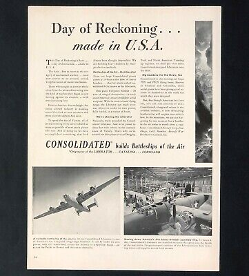 1942 Consolidated Advertisement WW II Liberator Bomber Airplane Vtg Print AD