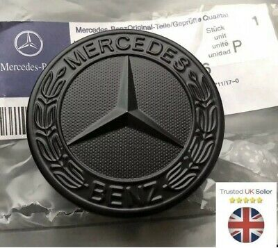 New MERCEDES BENZ SPORT BLACK BONNET BADGE - 57MM NEW C E S CLK AMG CLASS 🇬🇧