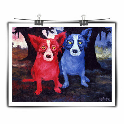 Cartoon Animal Blue Dog Art Painting HD Print Canvas Home Wall Decor 16x20