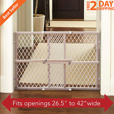 Wooden Baby Safety Gate Pet Fence Expandable Width Adjustable Diamond Mesh Gate