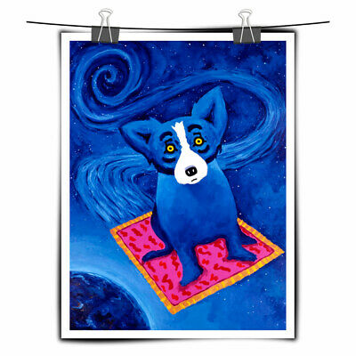 Cartoon Animal Blue Dog HD Print Canvas Art Painting Home Wall Art Decor 12x16