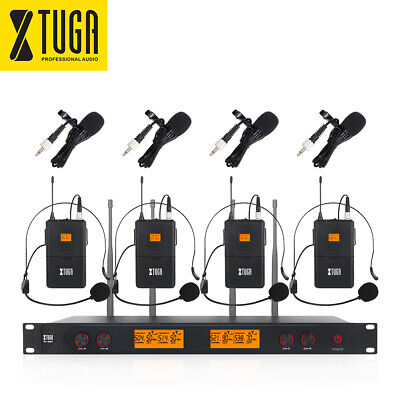 XTUGA A400 UHF Wireless Microphone System 4-CH 4 Bodypack with Headset/Lapel Mic