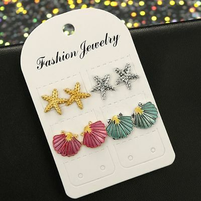 Women Starfish Shell Multicolored Stud Earrings Summer Beach Jewelry 4Pairs/Set