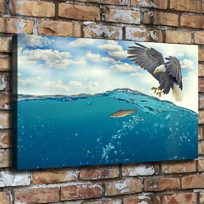 """Eagle fish HD Canvas prints Painting Home Decor room Picture Wall art 16""""x26"""""""