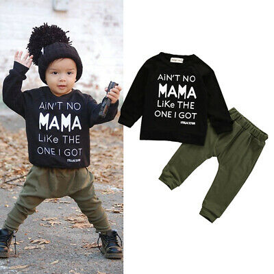 UK Toddler Kid Baby Boy Clothes Set Autumn Winter Shirt+Pants Trousers Outfits