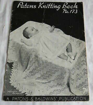 Vintage PATONS Baby Layette and Shawl KNITTING PATTERNS Book 173