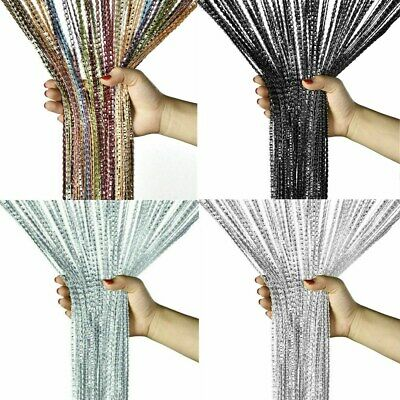Glitter String Curtain Panels Fly Screen Room Window Divider Voile Net Curtains