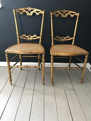 Pair Of Naive Cane Gilt Inlaid Side Chair Bedroom Chairs Courier