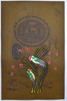 Antique Beauty Of Nature Art Scenery Birds Old Stamp Paper Painting