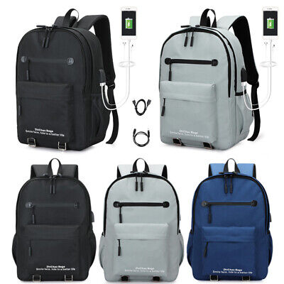 Anti-Theft Backpack USB Port Water Waterproof Charging Travel Laptop School Bag
