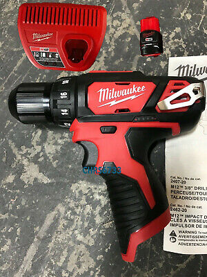 NEW Milwaukee 2407-20 M12 12V Li-Ion 3/8 Drill Driver Kit 1.5 ah Battery Charger