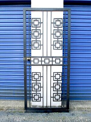 Vtg Mid Century Modern Architectural Black Metal Geometric Security Door Gate