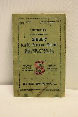 SINGER BAK Sewing Machine INSTRUCTION BOOK  FOR USING & ADJUSTING FORM K5959