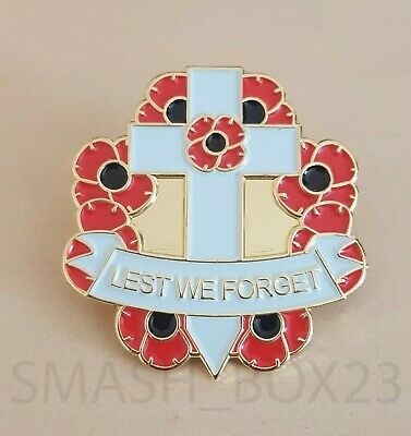 Red Poppy Flower 'Lest We Forget' Remembrance Day Cross Enamel Lapel Pin Badge
