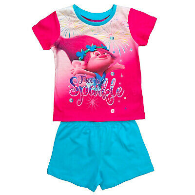 Official Licensed Girls Trolls Poppy Free To Sparkle Design Shortie Pyjamas Pjs