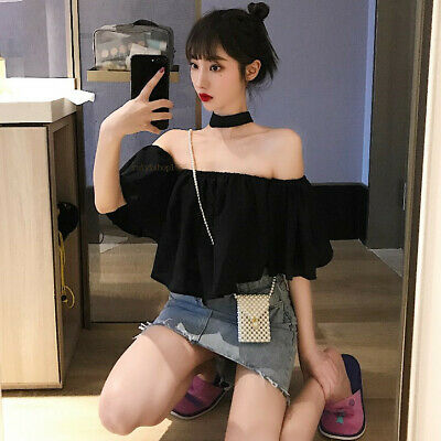 Sexy Summer Womens Halter Strapless Short Tops Casual Loose Chiffon Blouse Shirt