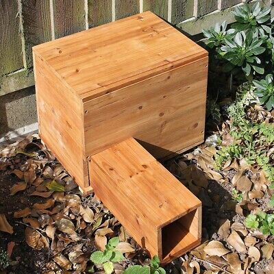Wooden Hedgehog House With Lid For Cleaning H33cm x W40cm x D30cm