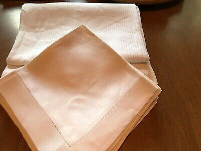 "Vtg White Damask Tablecloth Hemstitched 12 Napkins Bands Roses 88"" X 72"""