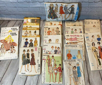 22 Womans Vintage Sewing Patterns McCalls Simplicity Vogue 50's & 60's USED