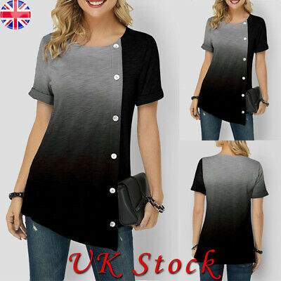 Womens Blouse Short Sleeve Gradient Shirts Ladies Button Casual Tops Blouses
