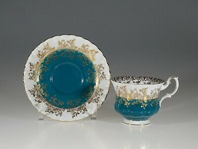 "Royal Albert ""Regal Series"" Turquoise Tea Cup and Saucer, England"