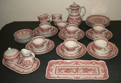 Hutschenreuther Kaffeeservice.Maria Theresia.Windsor Rot.Komplett für 11 Pers.