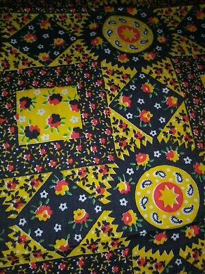 Vintage Bright Calico hobo hippie prairie flora selvedge cotton Fabric 4yrds 45W