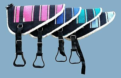 Navajo Print Padded Bareback Pad with detachable stirrups