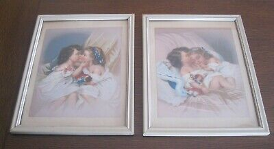 2 Vintage Victorian Color Chromolithographs Two Girls Kissing Sleeping