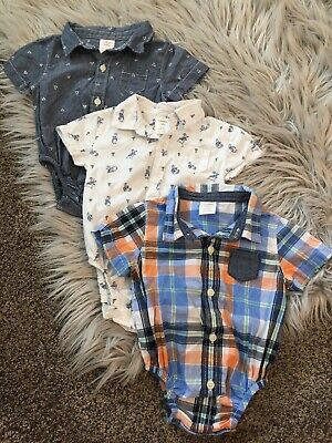 Baby Infant Boy 3-6 Months Gymboree Button Down Collar Shirt Onsies Lot Of 3