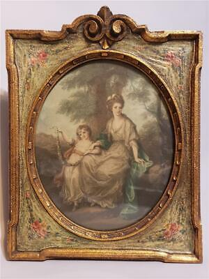 Antique French Victorian Lithograph on Plaster and Wood Frame Woman Girl Child