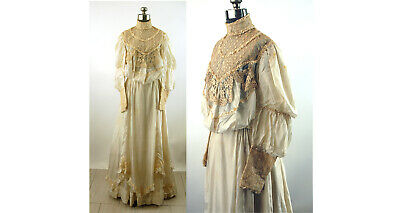 Victorian bodice and skirt silk and lace ivory wedding dress trained ensemble