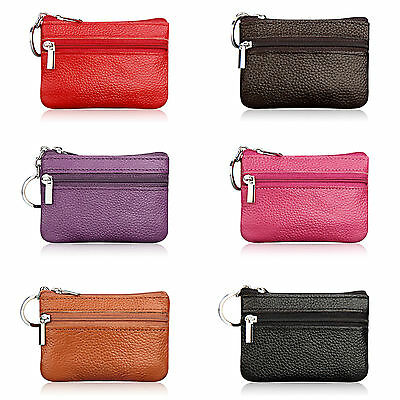 Women Men Leather Small Wallet Mini Coin Purse Card Holder Keyring Pouch Bags