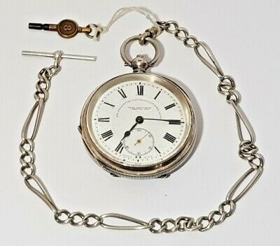 Antique 1925 Fattorini The Westminster Sterling Silver Pocket Watch Chain & Key